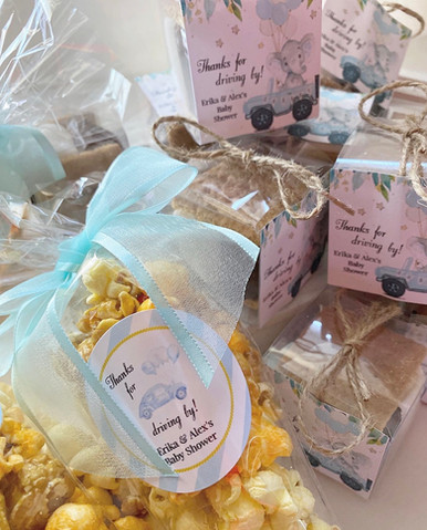 Drive-by baby shower s'more and popcorn