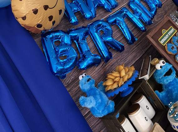 Cookie Monster Vinyl Wood Backdrop and Balloon Garland
