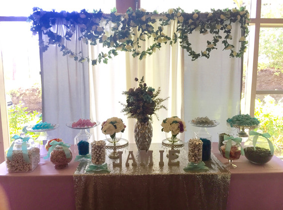 Curtain panel backdrop with flower garlands