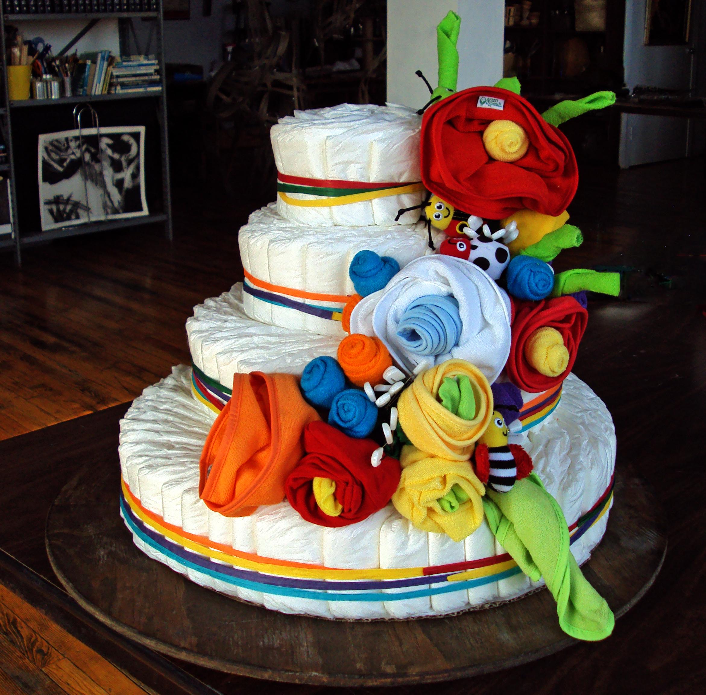 4 Tier Bright Flower Diaper Cake