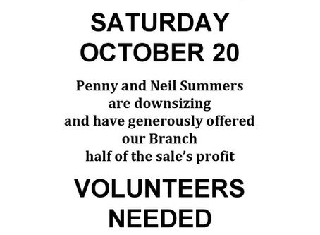Volunteers wanted for Yard Sale!