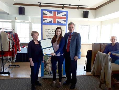 Bailey Watt presented with UEL certificate