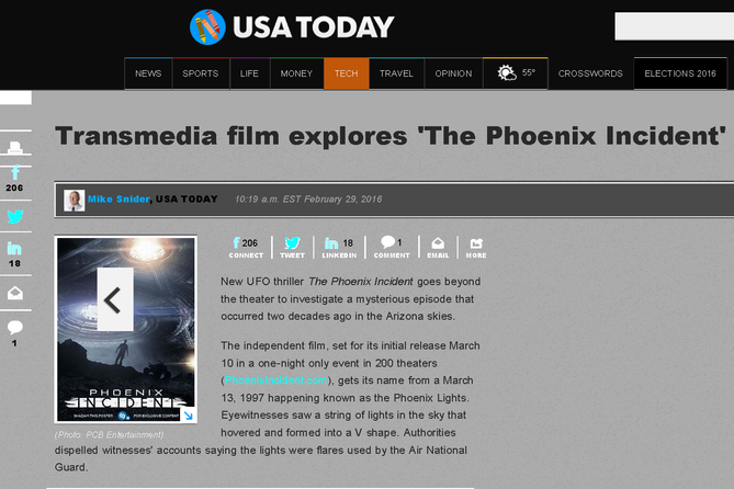 USA Today: Transmedia film explores 'The Phoenix Incident'