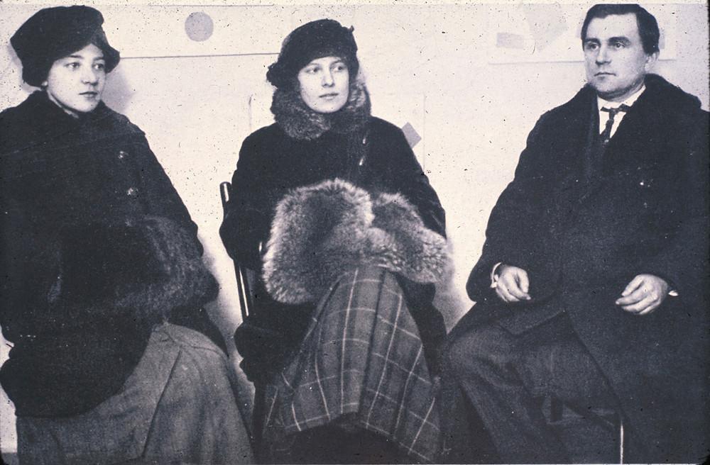 Olga Rozanova, Kseniya Boguslavskaya and Kazimir Malevich at 0. 10 The Last Futurist Exhibition of Paintings (1915)