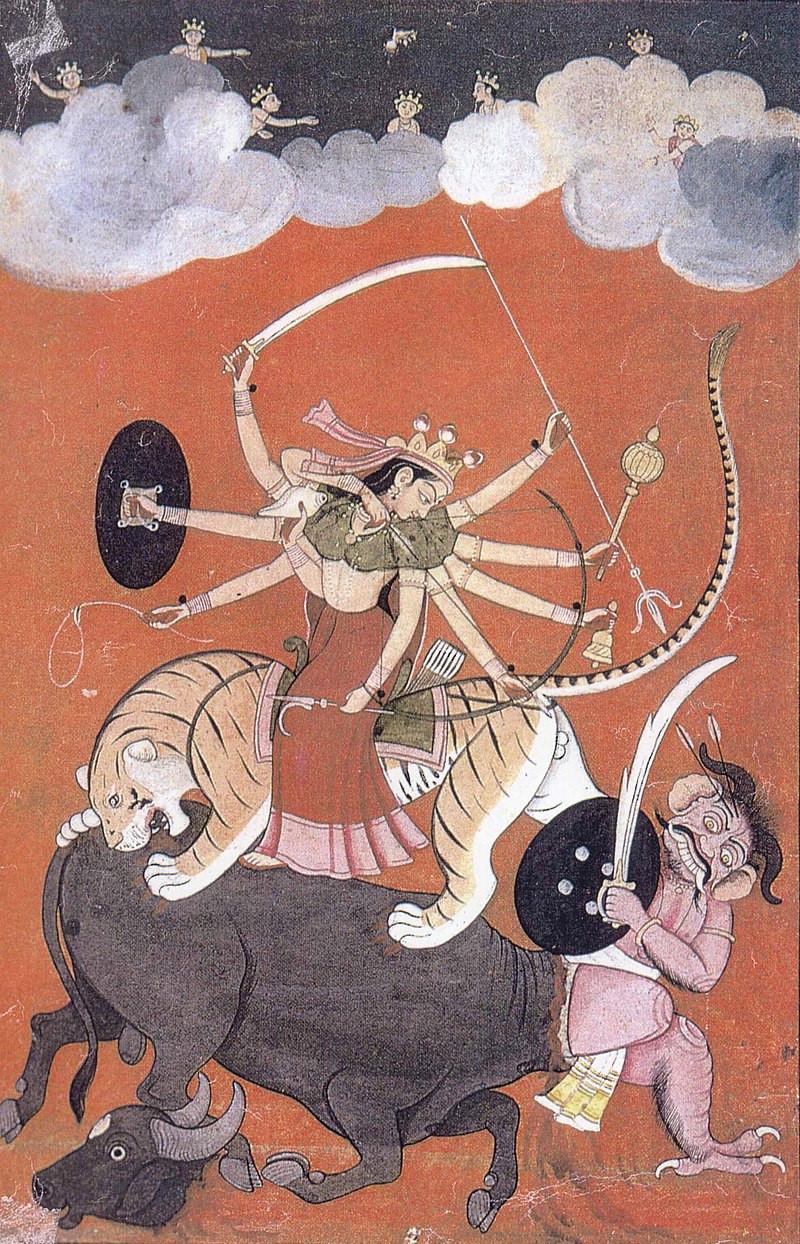 The Goddess Durga Fighting Mahishasura, The Buffalo-Demon, Artist Anknown