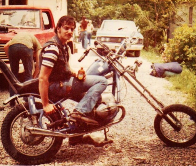 Dad and his chopper in 1973