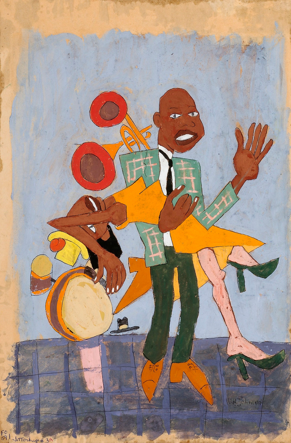 William H. Johnson, Jitterbugs (V), ca. 1941-1942, tempera and pen and ink on paper, Smithsonian American Art Museum, Gift of the Harmon Foundation, 1967.59.1101