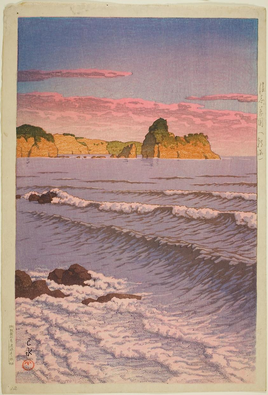 Morning Sea at Bikuni in Shiribeshi Province (1932) by Kawase Hasui (1883-1957)