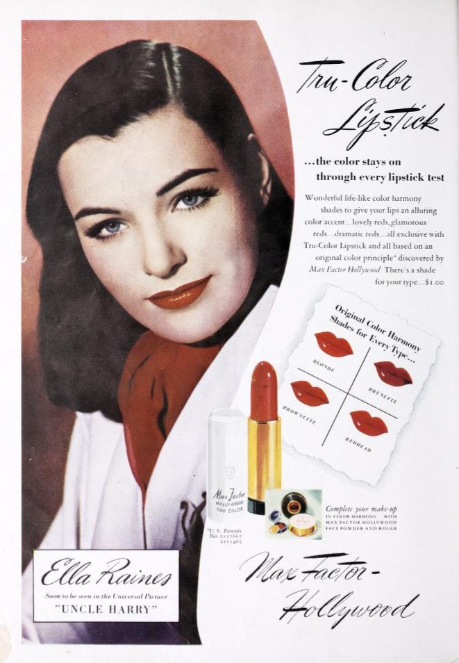Max Factor Lipstick Ads 1935 - 1960: A photo essay  | Max Factor Lipstick Ad 1945
