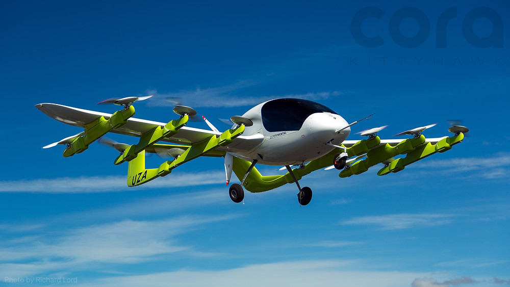 Glimpse into the Future of Automated Transport | Image of a Cora prototype air taxi in flight designed byKitty Hawk in flight over New Zealand (2018) by Richard Lord