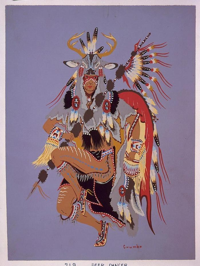 """""""Deer Dancer"""" (1952) by Woody Crumbo (1912 — 1989)"""