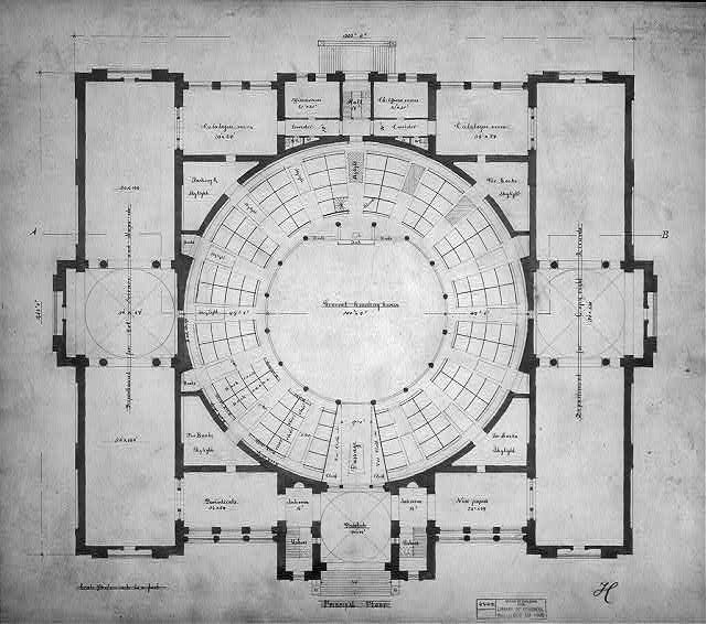 Designing the United States Capital: A photo essay | Architectural drawing for the Library of Congress, Washington, D.C. Floor plan (1873) via Library of Congress