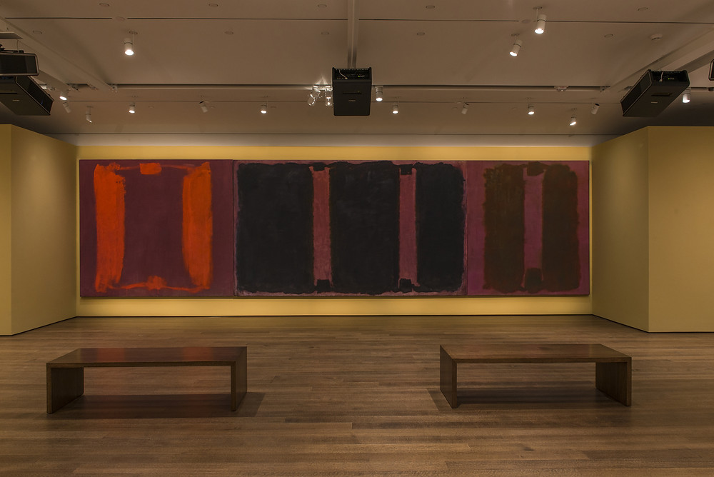 The Hues of Human History: Narayan Khandekar on art, conservation, and the Forbes Pigment Collection   Mark Rothko's Panel One, Panel Two, and Panel Three (Harvard Mural Triptych), with restored colors using light from digital projectors in the exhibition Mark Rothko's Harvard Murals, on display at the Harvard Art Museums November 16, 2014–July 26, 2015. © 2014 Kate Rothko Prizel and Christopher Rothko / Artists Rights Society (ARS), New York. Photo: Peter Vanderwarker, © President and Fellows of Harvard College.