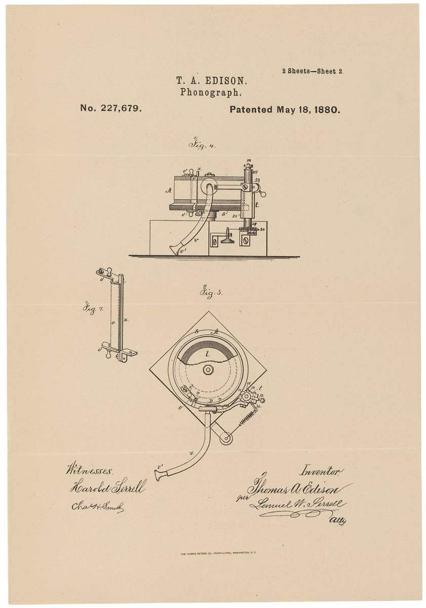 Patent drawing for Edison's phonograph, May 18, 1880