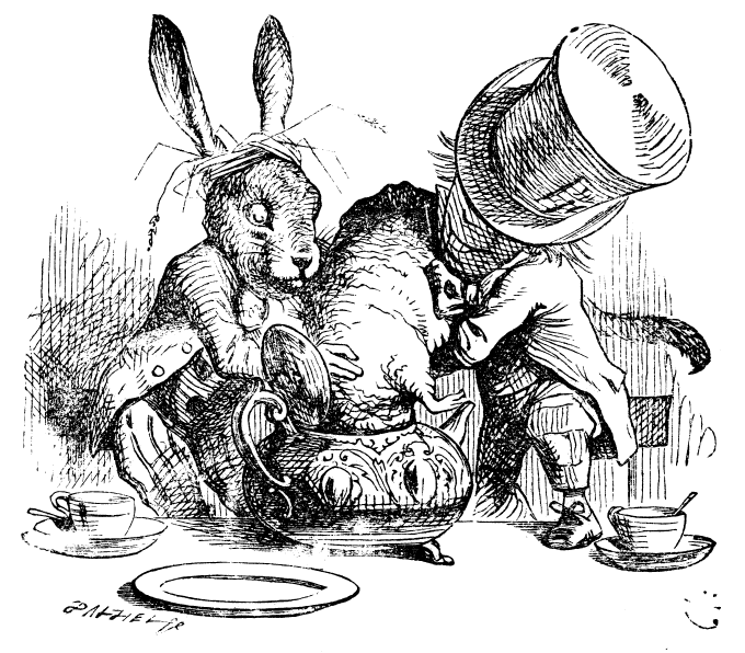 Hatter and the Hare trying to stuff the Dormouse into the teapot | Illustration by John Tenniel (1820-1914)