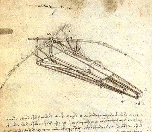 Artists who Moonlighted as Scientists: Lamarr, Atkins, & Da Vinci | A design for a flying machine (1488), Institut de France, Paris