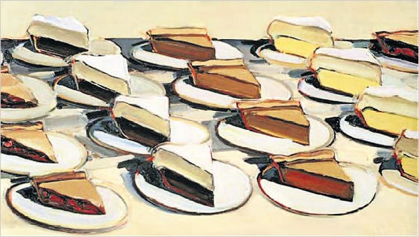 "The Curious Intersection of Food and Fine Art | ""Pies, Pies, Pies"" (1961) by Wayne Thiebaud. Image sourced from  ""Delicious"""