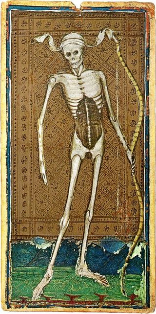 Death and Judgement in 15th Century Tarot Cards: A photo essay | Death from the Visconti Sforza tarot deck