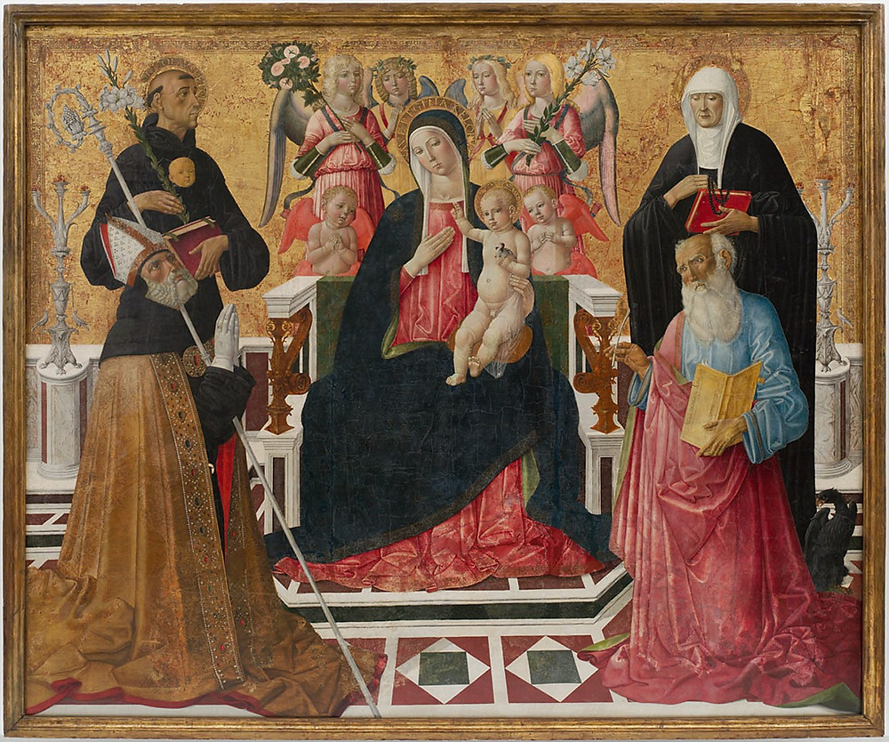 "The Hues of Human History: Narayan Khandekar on art, conservation, and the Forbes Pigment Collection | ""Madonna and Child with Saints Nicholas of Tolentino, Monica, Augustine, and John the Evangelist"" by Girolamo di Benvenuto di Giovanni del Guasta, Italian (Siena 1470 - 1524 Siena) © President and Fellows of Harvard College"