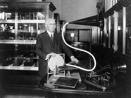 Emile Berliner with disc record gramophone