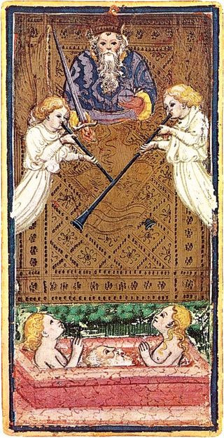Death and Judgement in 15th Century Tarot Cards: A photo essay | Judgement from the Visconti Sforza tarot deck