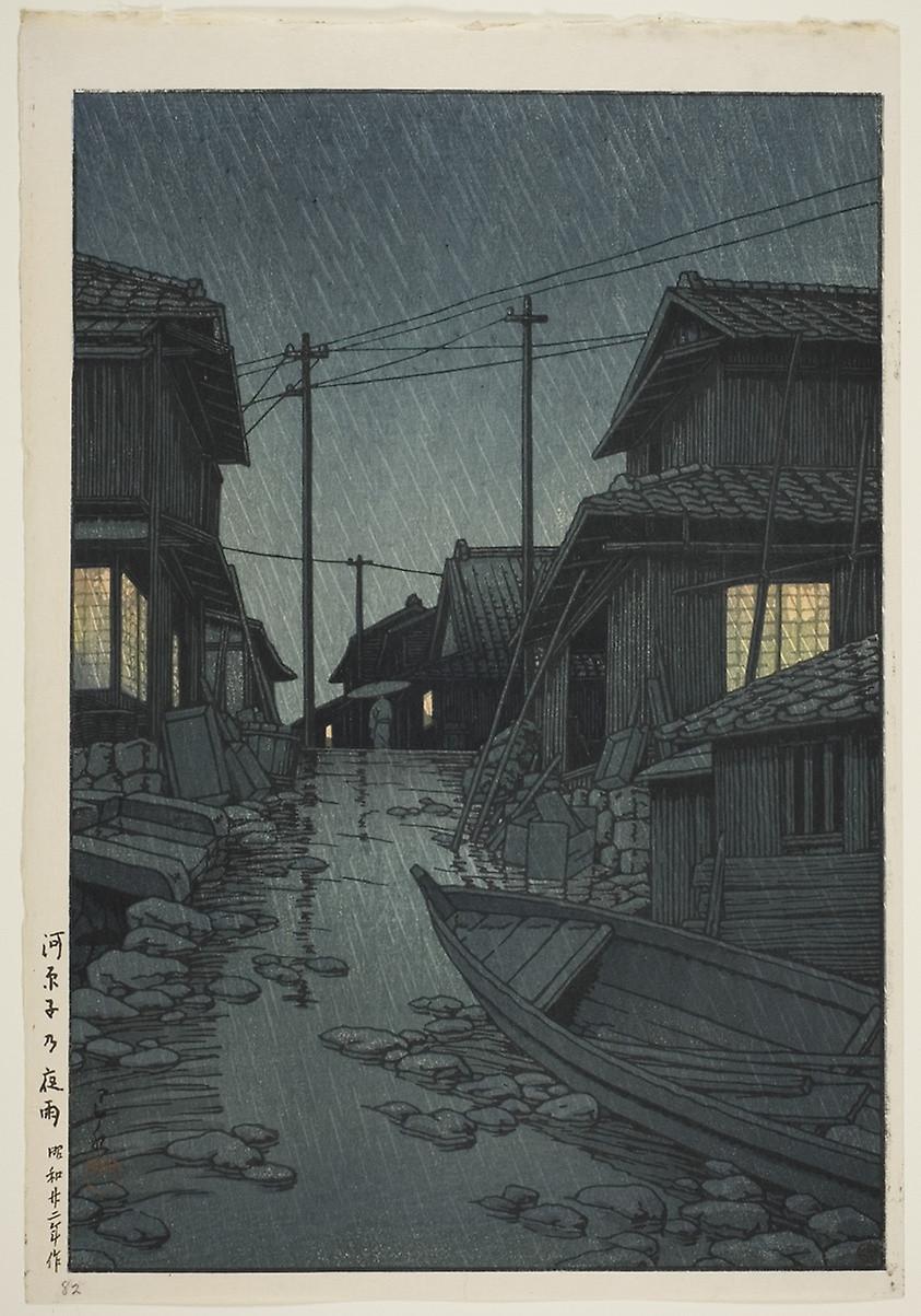 Evening Rain in Kawarago (1947) by Kawase Hasui (1883-1957)