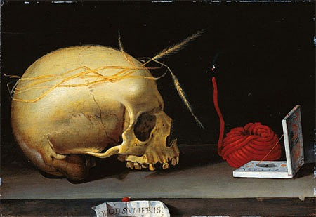 "Vanitas, Vanity of Vanities: This is why we can't have nice things | ""Vanitas Still Life with Skull, Wax Jack and Pocket Sundial"" (circa 1620)  Author Unknown"