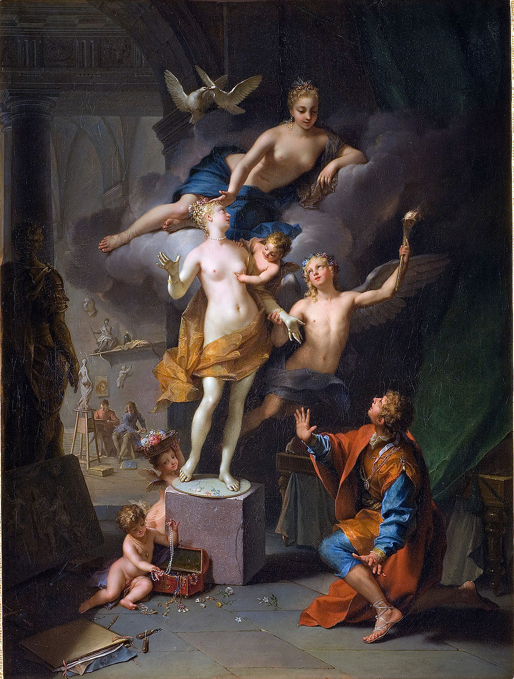 Pygmalion adoring his statue   A 1717 depiction of Ovid's narrative by Jean Raoux (1677 - 1734)