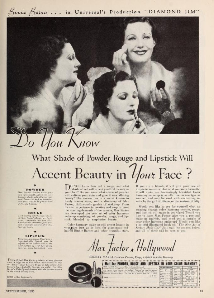 Max Factor Lipstick Ads 1935 - 1960: A photo essay | Max Factor Beauty Kit Ad 1935