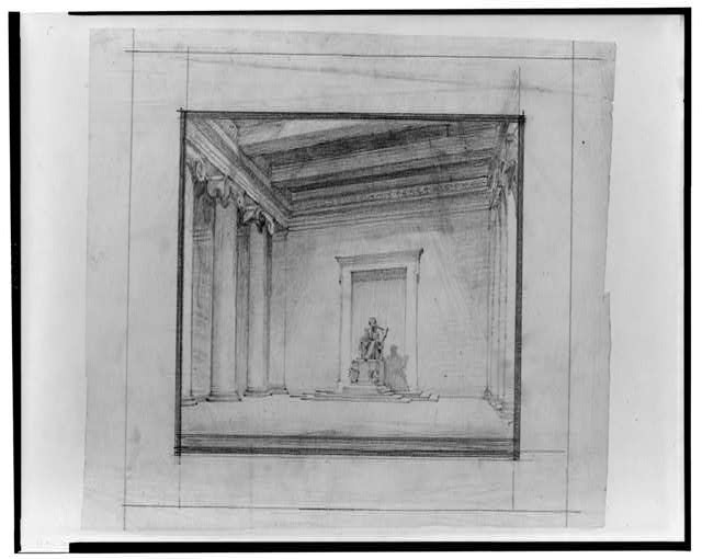 Designing the United States Capital: A photo essay | Lincoln Memorial (Washington, D.C.). Interior with sculpture. Perspective. Rendering (between 1912 and 1917) via Library of Congress