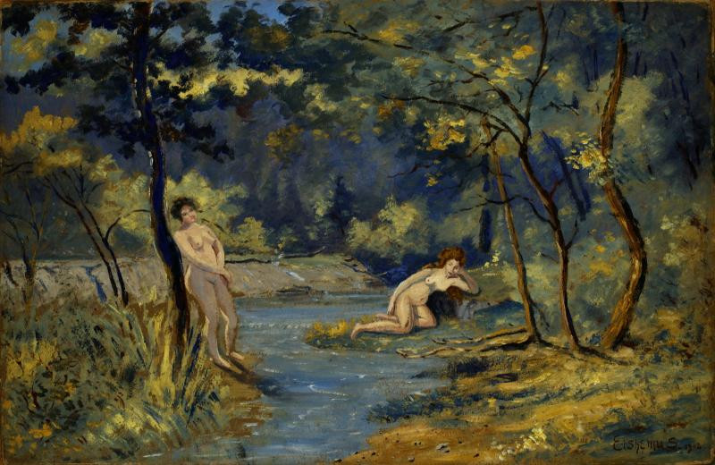 Standing and Reclining Nymphs (1908) by Louis M. Eilshemius