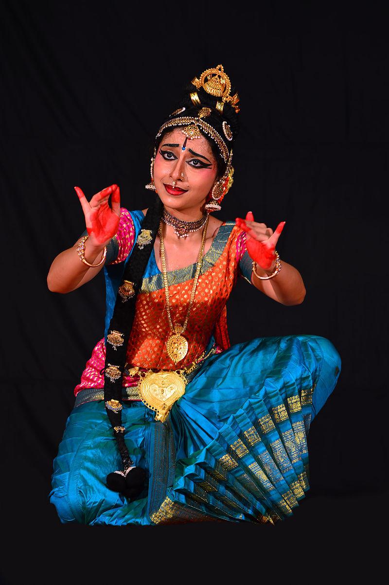 A dancer in a costume, an expressive part of a Kuchipudi performance by Mullookkaaran