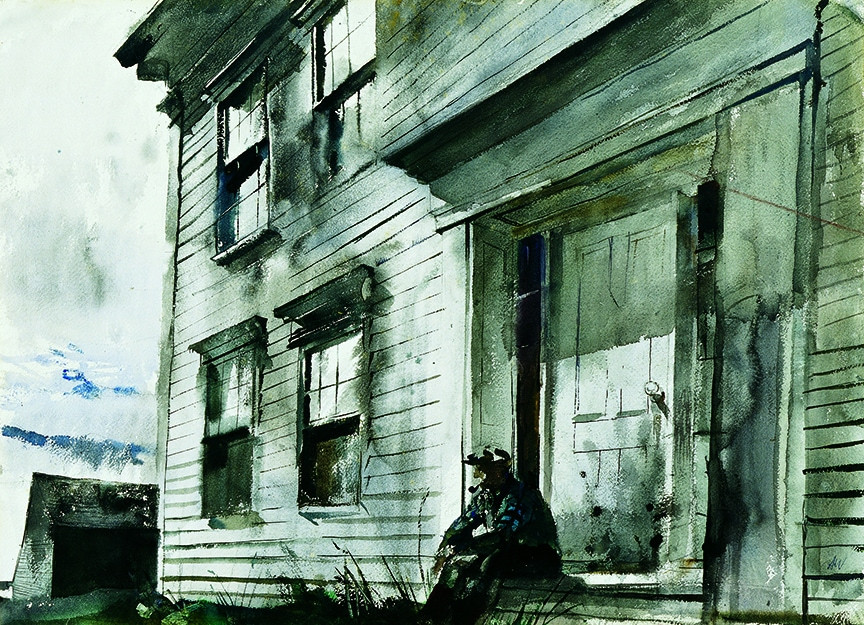 """Alvaro on Front Doorstep"" (1942) by Andrew Wyeth | Marcunuma Art Park c. 2017, Artist Rights Society"