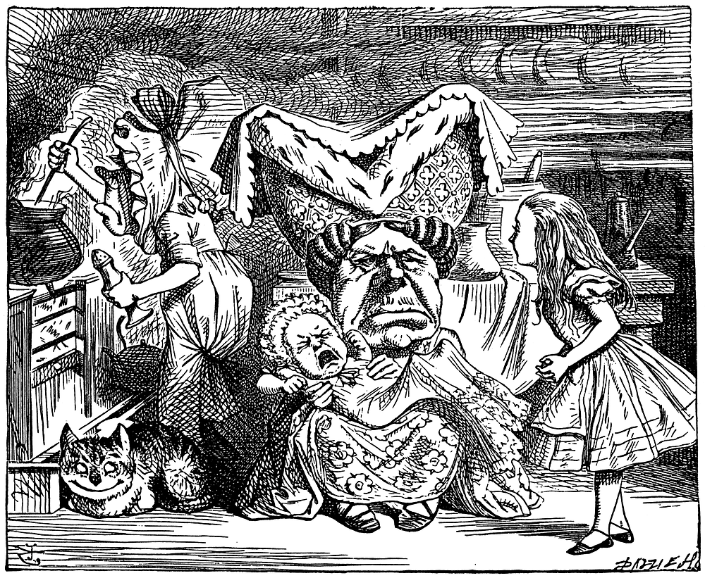Duchess, her baby, and the cook | The Cheshire Cat | Illustration by John Tenniel  (1820–1914)