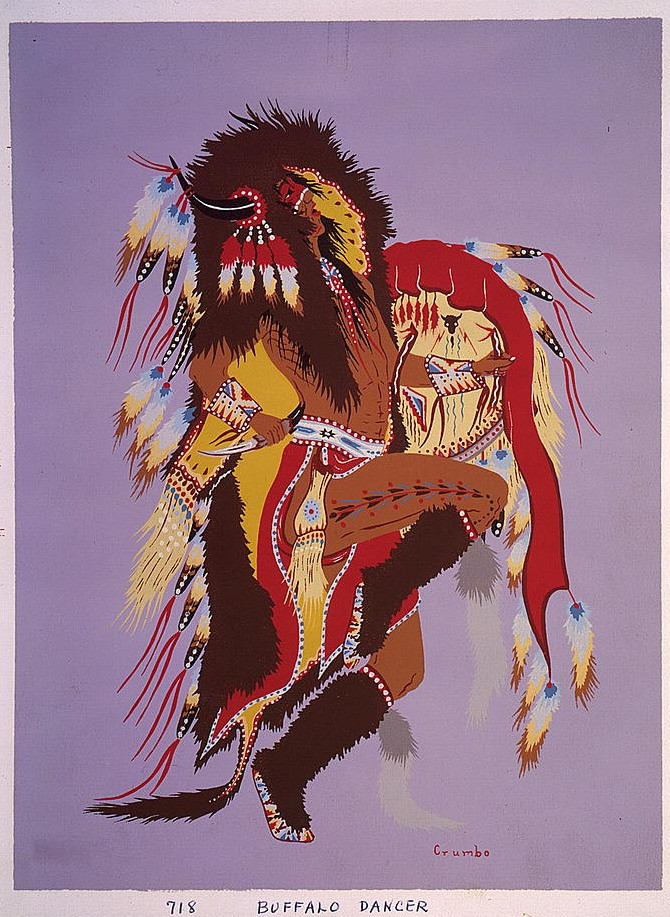 """""""Buffalo Dancer"""" (1952) by Woody Crumbo (1912 — 1989)"""
