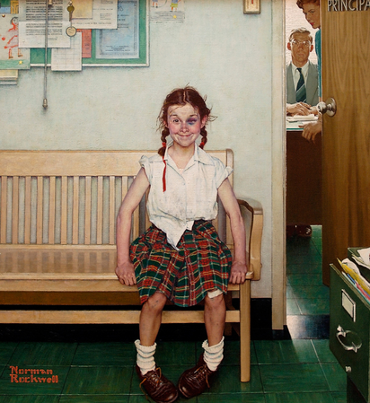 """""""The Young Lady with the Shiner"""" (1953) by Norman Rockwell"""