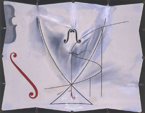 Swallow's Tail and Cellos — Catastrophes Series  (1983) by Salvador Dali