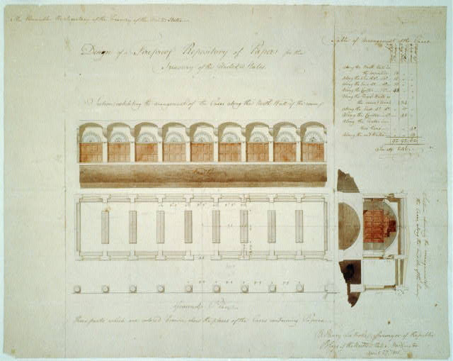 Designing the United States Capital: A photo essay | Architectural drawing for a fireproof repository for the Treasury Department, Washington, D.C. (1805) via Library of Congress