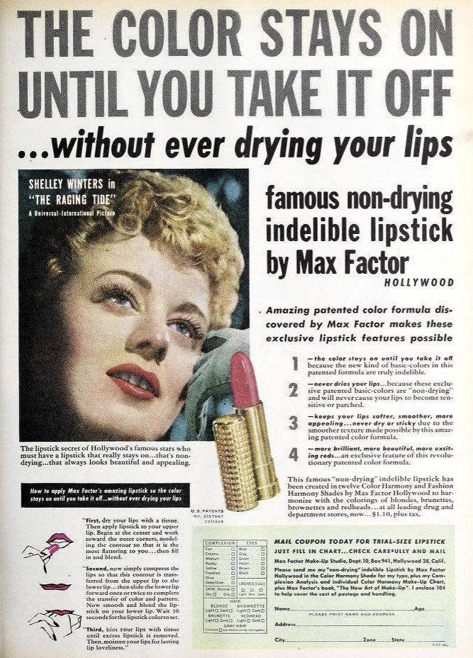 Max Factor Lipstick Ads 1935 - 1960: A photo essay  | Max Factor Lipstick Ad 1951