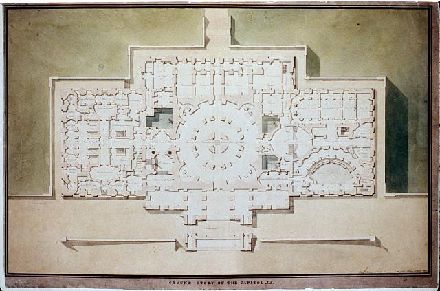 Designing the United States Capital: A photo essay | United States Capitol, Washington, D.C. Ground story - stairs, Supreme Court, vestibule (1806) via Library of Congress