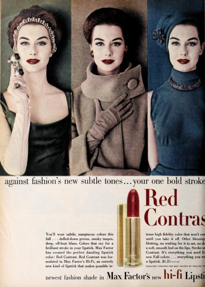 Max Factor Lipstick Ads 1935 - 1960: A photo essay  | Max Factor Lipstick Ad 1956