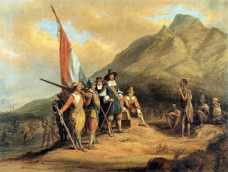 "Three Phases in the Unique Development of South African Art | ""Jan van Riebeeck arrives in Table Bay in April 1652"" by Charles Davidson Bell (1813 - 1882)"