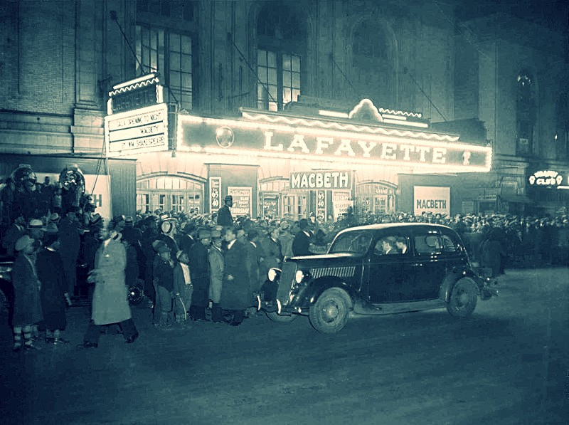 Embedded History in City Streets: Preserving history while building for the future | Macbeth at the Lafayette Theatre, Harlem via  Library of Congress American Memory Collection