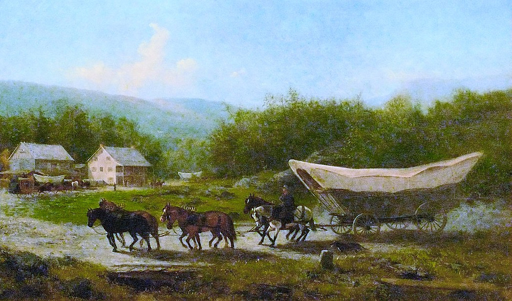 "Circle the Wagons! How covered wagons opened the West and changed history | ""Conestoga Wagon"" (1883) by Newbold Hough Trotter (1827 — 1898)"