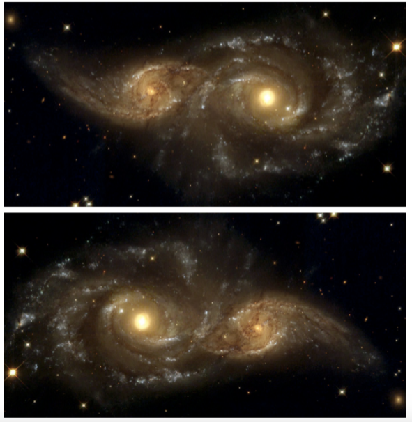 Seeing Is Not Believing: Dr. Jayanne English talks visual grammar and the real art behind astrophotography  | Composition and NGC 2207 and IC 2163. The top image has the conventional (east to the left) orientation for astronomical maps.The image has little depth. However, a spiral arm appears to swing towards the viewer in the bottom image, which is simply the top one rotated by 180 degrees. In the bottom orientation, used in the Hubble Heritage release, the galaxy disks align to form a virtual diagonal as in Fig. 13. This image appeared in numerous popular magazines in the bottom orientation and in a professional article63 in the top orientation. | Image Jayanne English