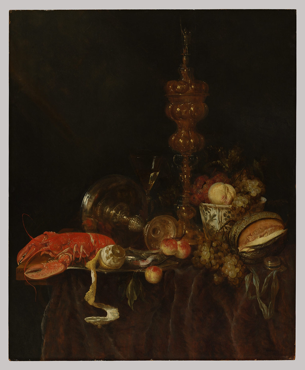 "The Curious Intersection of Food and Fine Art | ""Still Life with Lobster and Fruit"" by Abraham van Beyeren"