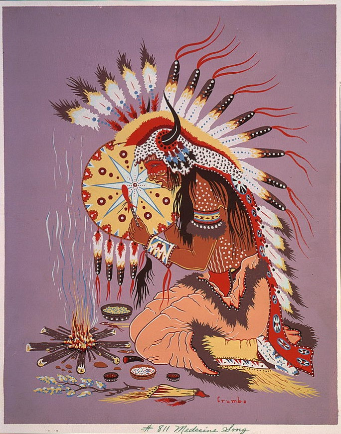 """""""Medicine Song"""" (1952) by Woody Crumbo (1912 — 1989)"""