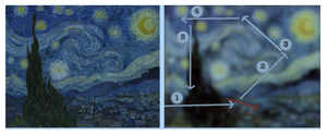 """Seeing Is Not Believing: Dr. Jayanne English talks visual grammar and the real art behind astrophotography    Composition and The Starry Night. This painting by Vincent Van Gogh, owned by the Museum of Modern Art,62 contains elements (or structures) to impede the eye's exit from the picture plane. The schematic on the right shows some of the paths that the eye follows and the one labelled """"3"""" traces a """"virtual diagonal"""". The final (nth) path leads to the church, which is not in the static centre of the picture plane.   Image Jayanne English"""