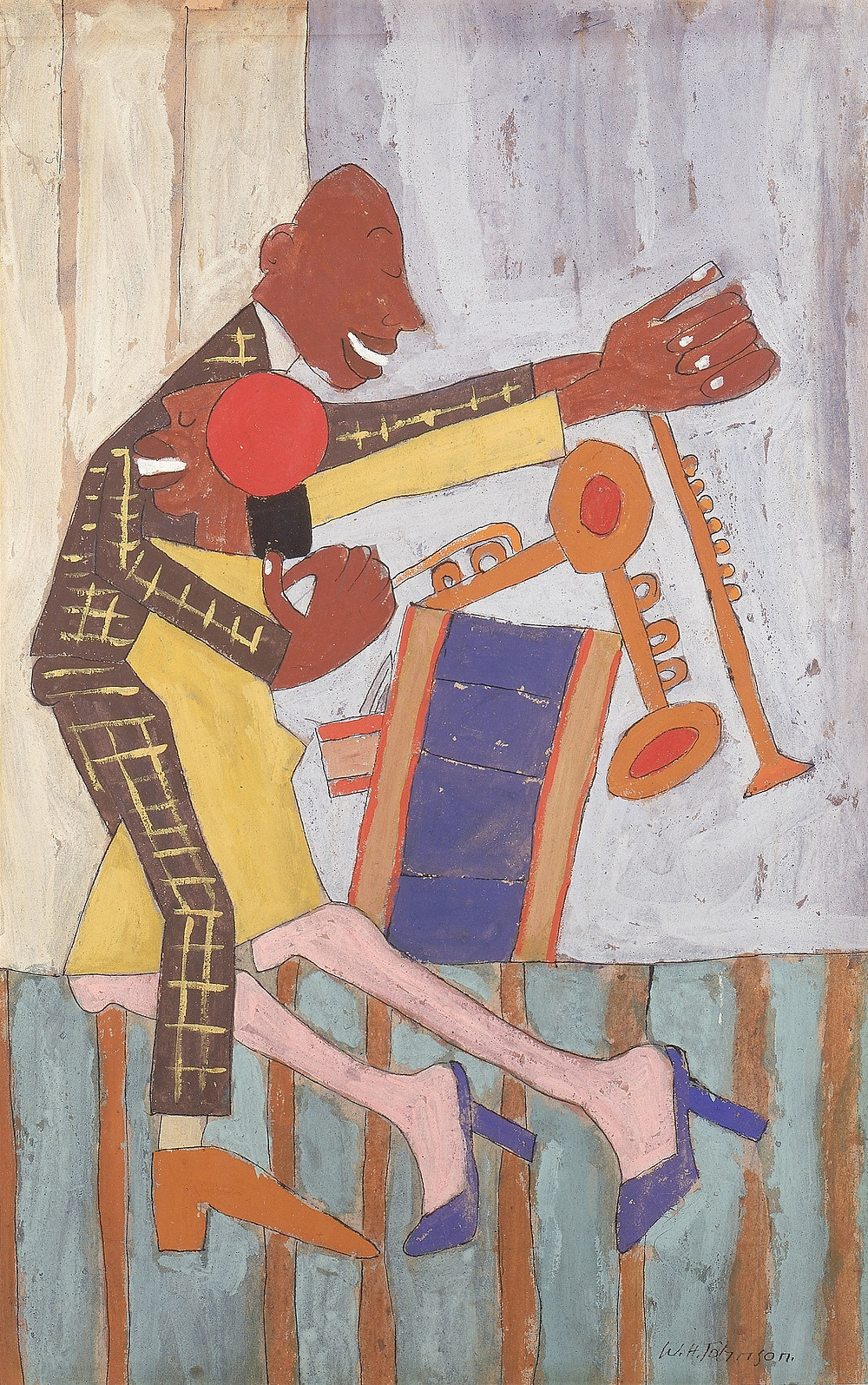William H. Johnson, Jitterbugs (II), ca. 1941, gouache and pen and ink with pencil on paper, Smithsonian American Art Museum, Gift of the Harmon Foundation, 1967.59.1047R-V