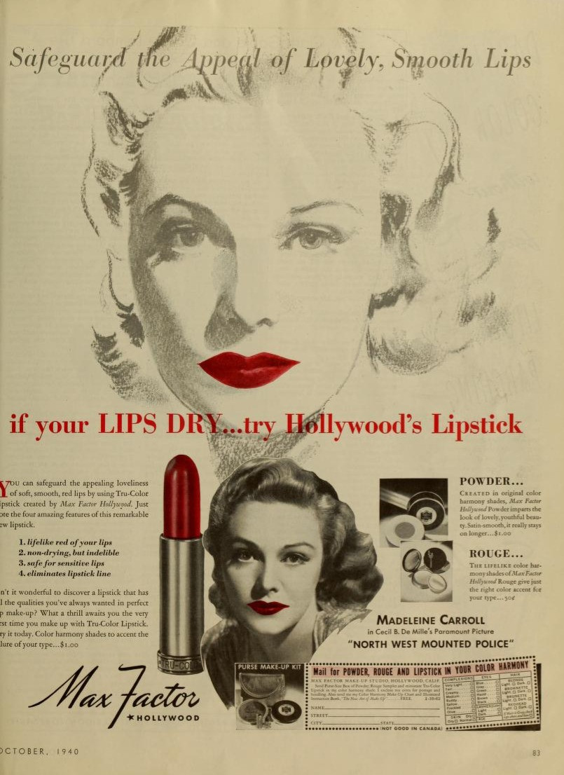 Max Factor Lipstick Ads 1935 - 1960: A photo essay  | Max Factor Lipstick Ad 1940